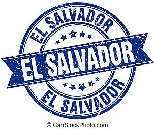 El Salvador blue round grunge vintage ribbon stamp