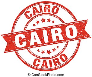 Cairo red round grunge vintage ribbon stamp