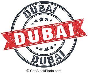 Dubai red round grunge vintage ribbon stamp