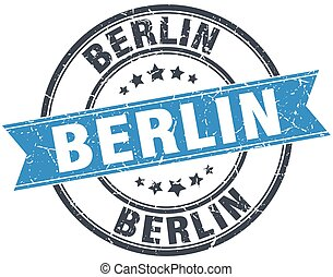 Berlin blue round grunge vintage ribbon stamp