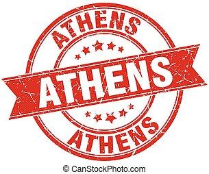Athens red round grunge vintage ribbon stamp
