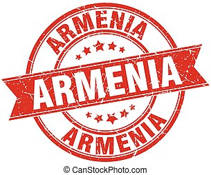 Armenia red round grunge vintage ribbon stamp