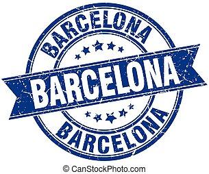 Barcelona blue round grunge vintage ribbon stamp
