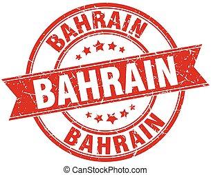 Bahrain red round grunge vintage ribbon stamp