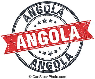 Angola red round grunge vintage ribbon stamp