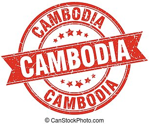 Cambodia red round grunge vintage ribbon stamp
