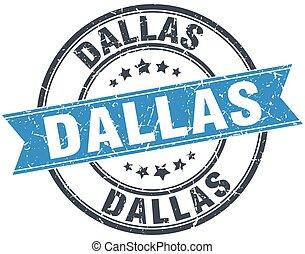 Dallas blue round grunge vintage ribbon stamp