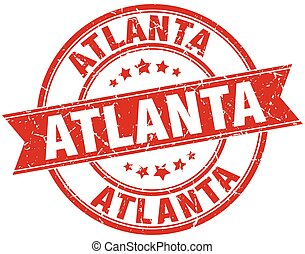 Atlanta red round grunge vintage ribbon stamp