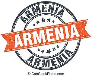 Armenia red round grunge vintage ribbon stamp