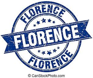 Florence blue round grunge vintage ribbon stamp