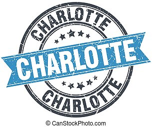 Charlotte blue round grunge vintage ribbon stamp