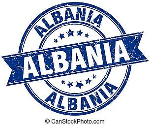 Albania blue round grunge vintage ribbon stamp