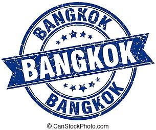 Bangkok blue round grunge vintage ribbon stamp