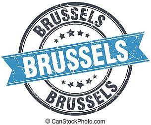 Brussels blue round grunge vintage ribbon stamp