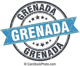 Grenada blue round grunge vintage ribbon stamp