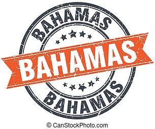 Bahamas red round grunge vintage ribbon stamp