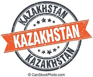 Kazakhstan red round grunge vintage ribbon stamp