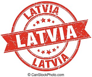Latvia red round grunge vintage ribbon stamp