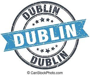 Dublin blue round grunge vintage ribbon stamp