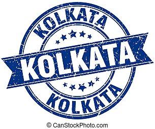 Kolkata blue round grunge vintage ribbon stamp