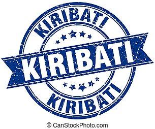 Kiribati blue round grunge vintage ribbon stamp