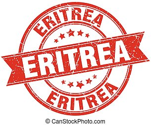 Eritrea red round grunge vintage ribbon stamp