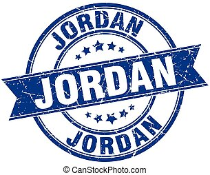 Jordan blue round grunge vintage ribbon stamp