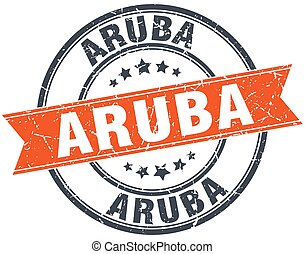 Aruba red round grunge vintage ribbon stamp