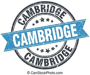 Cambridge blue round grunge vintage ribbon stamp