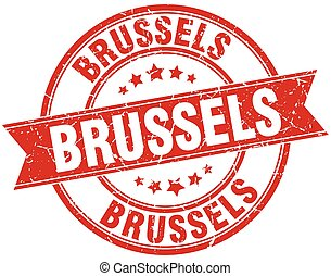Brussels red round grunge vintage ribbon stamp