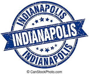 Indianapolis blue round grunge vintage ribbon stamp