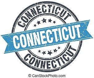 Connecticut blue round grunge vintage ribbon stamp