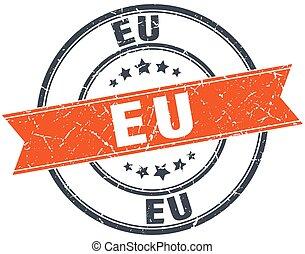eu red round grunge vintage ribbon stamp