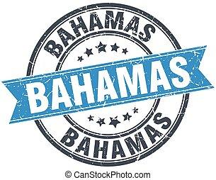 Bahamas blue round grunge vintage ribbon stamp