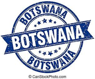 Botswana blue round grunge vintage ribbon stamp