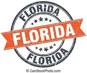 Florida red round grunge vintage ribbon stamp