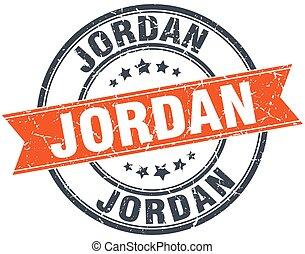 Jordan red round grunge vintage ribbon stamp
