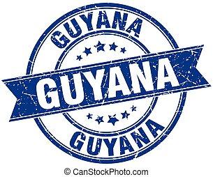 Guyana blue round grunge vintage ribbon stamp