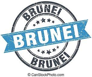 Brunei blue round grunge vintage ribbon stamp