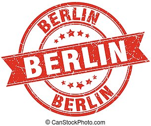 Berlin red round grunge vintage ribbon stamp