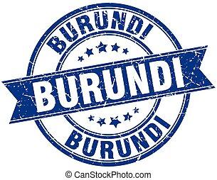 Burundi blue round grunge vintage ribbon stamp