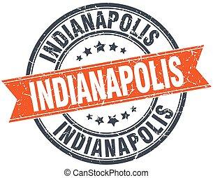 Indianapolis red round grunge vintage ribbon stamp