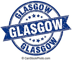 Glasgow blue round grunge vintage ribbon stamp