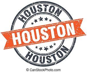 Houston red round grunge vintage ribbon stamp