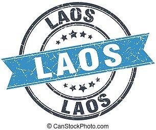 Laos blue round grunge vintage ribbon stamp