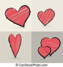 Collection of hand drawed hearts