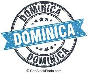 Dominica blue round grunge vintage ribbon stamp