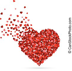 Hearts scattering from a heart shape on white background