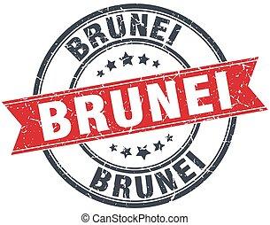 Brunei red round grunge vintage ribbon stamp
