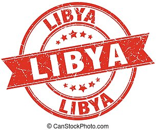 Libya red round grunge vintage ribbon stamp